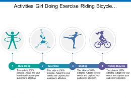 Activities Girl Doing Exercise Riding Bicycle And Hula Hoop