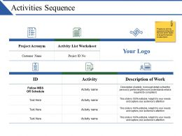 Activities Sequence Powerpoint Templates