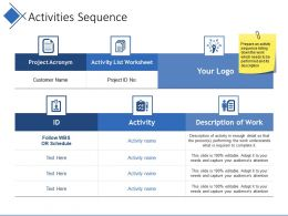 Activities Sequence Ppt Examples Slides