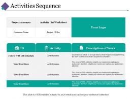 Activities Sequence Ppt Inspiration Design Inspiration