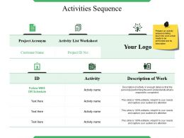 Activities Sequence Ppt Presentation Examples