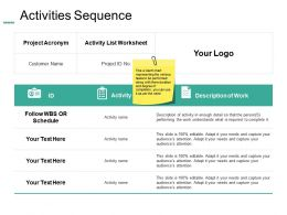Activities Sequence Ppt Summary Example Introduction