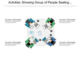 Activities Showing Group Of People Seating And Working On Laptop