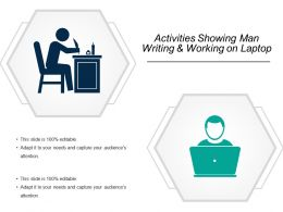 Activities Showing Man Writing And Working On Laptop