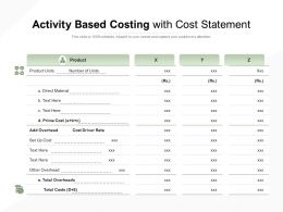 Activity Based Costing With Cost Statement