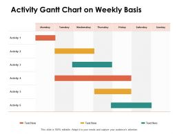 Activity Gantt Chart On Weekly Basis Ppt Powerpoint Presentation Examples