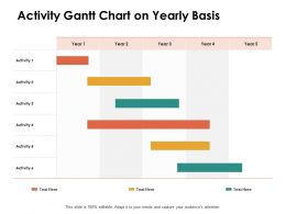 Activity Gantt Chart On Yearly Basis Ppt Powerpoint Presentation Show Visuals