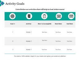 Activity Goals Checklist Calendar Ppt Powerpoint Presentation Outline Files