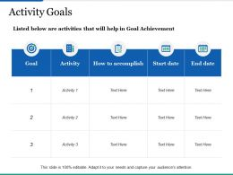 Activity Goals Ppt Infographics Demonstration