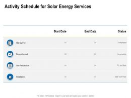 Activity Schedule For Solar Energy Services Ppt Powerpoint Presentation Slides