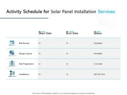 Activity Schedule For Solar Panel Installation Services Ppt Slides