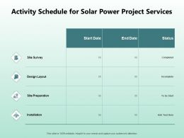 Activity Schedule For Solar Power Project Services Ppt Powerpoint Slides