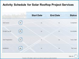 Activity Schedule For Solar Rooftop Project Services Powerpoint Presenttion Slides
