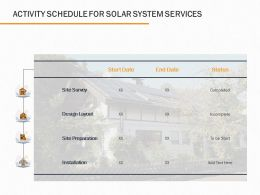 Activity Schedule For Solar System Services Ppt Powerpoint Presentation File Design Inspiration