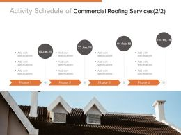 Activity Schedule Of Commercial Roofing Services Management Ppt Powerpoint Presentation Pictures