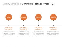 Activity Schedule Of Commercial Roofing Services Process Ppt Powerpoint Presentation Portfolio