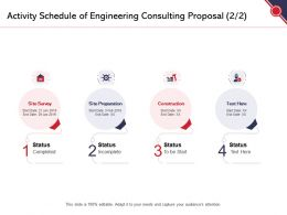 Activity Schedule Of Engineering Consulting Proposal Construction Ppt Powerpoint Presentation Model Deck
