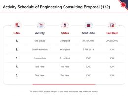 Activity Schedule Of Engineering Consulting Proposal Ppt Powerpoint Presentation Outline