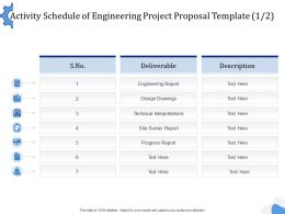 Activity Schedule Of Engineering Project Proposal Template L1504 Ppt Powerpoint Rules