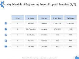 Activity Schedule Of Engineering Project Proposal Template L1505 Ppt Powerpoint Vector
