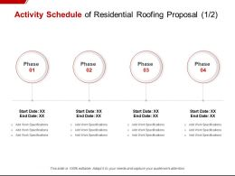 Activity Schedule Of Residential Roofing Proposal Checklist Ppt Powerpoint Presentation