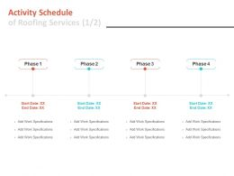 Activity Schedule Of Roofing Services Marketing Ppt Powerpoint Slides