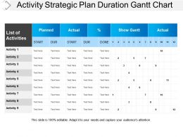 Activity Strategic Plan Duration Gantt Chart