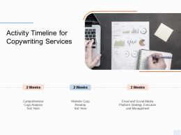 Activity Timeline For Copywriting Services Ppt Powerpoint Presentation Styles