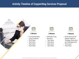 Activity Timeline Of Copywriting Services Proposal Ppt Powerpoint Model