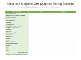 Actual And Budgeted Cost Sheet For Startup Business
