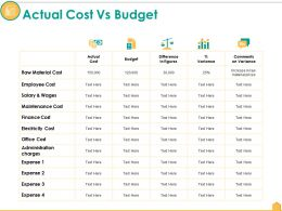Actual Cost Vs Budget Ppt Portfolio Demonstration