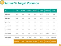 Actual Vs Target Variance Ppt Infographics Topics