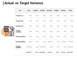 Actual Vs Target Variance Variation Profit Ppt Powerpoint Presentation Gallery Mockup