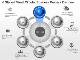 ad 6 Staged Mixed Circular Business Process Diagram Powerpoint Template