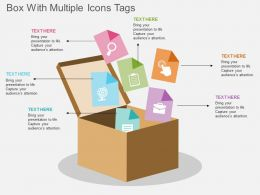 ad Box With Multiple Icons Tags Flat Powerpoint Design