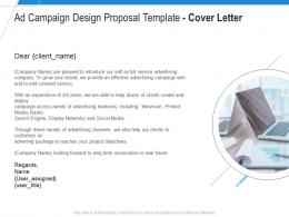 Ad Campaign Design Proposal Template Cover Letter Ppt Powerpoint Presentation Infographic