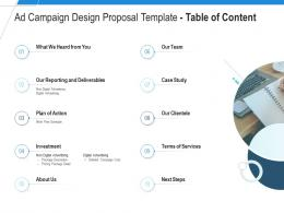 Ad Campaign Design Proposal Template Table Of Content Ppt Powerpoint Presentation Outline