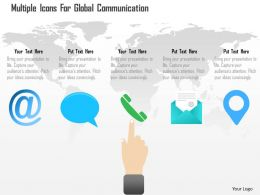 Ad Multiple Icons For Global Communication Powerpoint Template