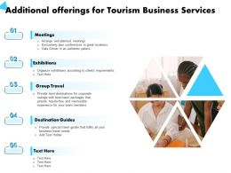 Additional Offerings For Tourism Business Services Exhibitions Ppt Powerpoint Presentation Good