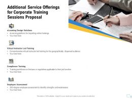 Additional Service Offerings For Corporate Training Sessions Proposal Ppt Outline