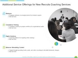 Additional Service Offerings For New Recruits Coaching Services Ppt Powerpoint Presentation Icon