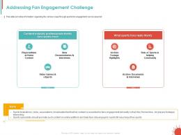 Addressing Fan Engagement Challenge Ppt Powerpoint Presentation Styles Themes