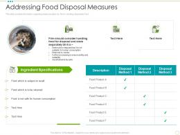 Addressing Food Disposal Measures Food Safety Excellence Ppt Powerpoint Presentation