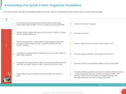 Addressing Live Sports Events Organizer Guidelines Ppt Powerpoint Ideas Structure
