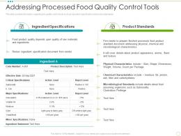 Addressing Processed Food Quality Control Tools Food Safety Excellence