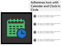 Adherence Icon With Calendar And Clock In Circle