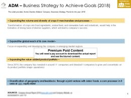 ADM Business Strategy To Achieve Goals 2018