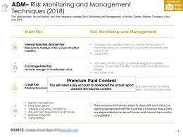 ADM Risk Monitoring And Management Techniques 2018