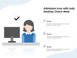 Admission Icon With Lady Desktop Check Mark