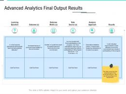 Advanced Analytics Final Output Results Metric Data Integration Ppt Ideas Show